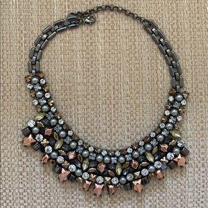 Multi Tone Jeweled Adjustable Necklace.